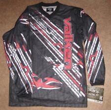 Valken Fate Paintball Jersey V-Neck Long-Sleeved Shirt-Black/Red/White-M-NWT