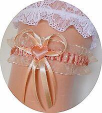 Braut-Strumpfband  hell-orange lachs creme mit Herzchen Schleifchen Hochzeit EU