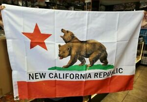 """Fallout 76 New California Republic Flag Loot Crate Exclusive 2""""x 3"""" w/ Grommets"""