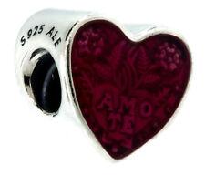 Authentic PANDORA Latin Love Heart Charm, Transparent Cerise Enamel 792048EN117