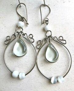 Peruvian Clear Glass Hoop Dangle Earrings White Beads Handmade Alpaca Silver
