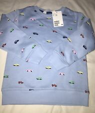 H&M Toddler Boy Fleece Lined Cars Print Sweatshirt 2T-4T Nwt