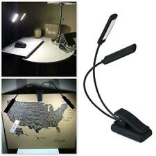 Portable Clip On Book Light USB Rechargeable Double Table Desk LED Lamp Reading
