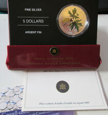 2005 CANADA 1oz SILVER 5 DOLLARS MAPLE LEAF COLOURED COIN WITH RCM CASE & CERT.