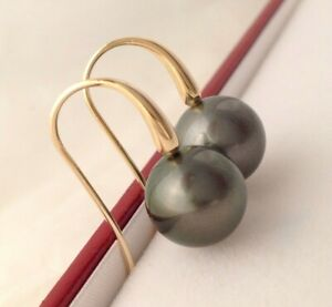 Near Perfect Tahitian Pearls 11.5mm AAA on 9k Solid Yellow Gold Hook Earrings