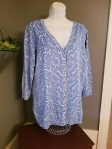 Isaac Mizrahi cardigan Sz 1X Button Short sleeve blue knit open front top Exc!