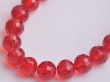 20pcs 10mm 96Facet Round Faceted Charms Crystal Glass Loose Spacer Beads Red