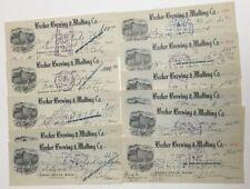 1912 Becker Brewing & Malting Ogden State Bank Utah Pre Pro Beer Check Lot (11)