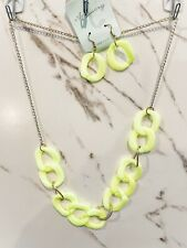 Chunky Chain Necklace & Earring Set Neon Yellow NEW