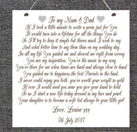 Personalised Wedding Poem Plaque Mum Dad Bride Groom Marriage Chic Gift Present