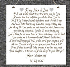Personalised Wedding Poem Plaque Mum Dad Bride Groom Marriage Chic Gift Present