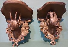 More details for pair antique gilt  austrian german black forest style carved corbels goats rams