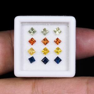 12 Pcs Natural Multi Sapphires Princess Cut 2.6mm-2.8mm Xclusive Loose Gemstones