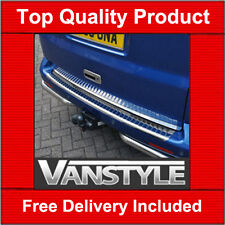 VW T5 REAR BUMPER PROTECTOR ROLLED EDGE STAINLESS STEEL COVER 2003 on CHROME