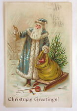 VINTAGE SANTA CLAUS BLUE SUIT CHRISTMAS POSTCARD EMBOSSED TOYS BAG OUTFIT XMAS