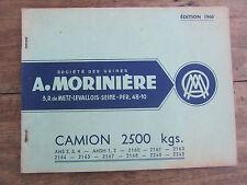 CATALOGUE PIECES DETACHEES MORINIERE CAMION RENAULT 2500 KG AHS FREGATE 1960