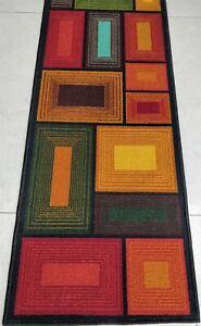 Brown Blocks 3 D Pattern Polyester Area Rug Anti-slip Floor Carpet 137 x 49 cm