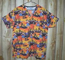 Uniform City nurse shirt scrubs orange size M or L teddy bears cowboys cactuses