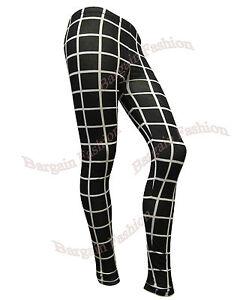 LADIES BRAND NEW BLACK & WHITE CHECK PRINT WOMENS LEGGING SIZES 8 10 12 14 16