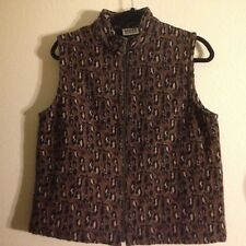 CHICO'S DESIGN Tapestry Vest Women's Size 1 Zip Front Lined Cheetah Print Brown