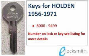 Suits GM HOLDEN FE FC FB EK EJ EH HR HK HT HG, LC TORANA Keys cut to code number