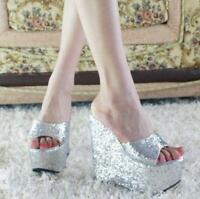 womens open toe high heel wedge sequins platform hot sandal shoes Slippers