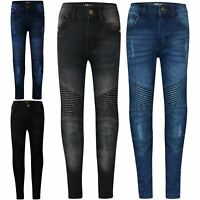 Kids Boys Stretchy Jeans Designer Ripped Skinny Denim Pants Trousers Age 5-13 Yr