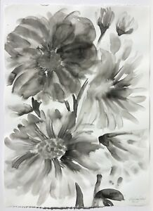 Water color ink flower painting modern