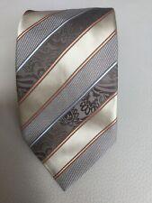 Ermenegildo Zegna Brown Gold Striped Silk Tie Made in Italy
