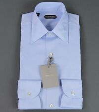 New Tom Ford Solid Blue Dress Shirt Tailored Fit Model Slim Size 15 38 NWT