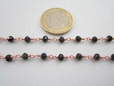 1 metro catenina rosario color rosè concatenata cristalli neri 3,5 mm