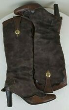 A. TESTONI FEMME Suede/Exotic Leather Women Brown Knee High Boots Sz 5.5 Euro 36