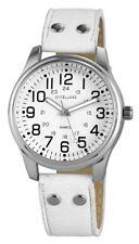 Damenuhr Weiß Silber Arabische Ziffern Leder Armbanduhr IMP-195022000156