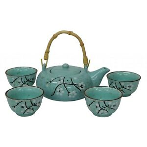 Chinese Tea Set - Speckled turquoise with black and white blossom design-boxed