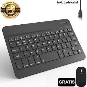 Bluetooth Tastatur kabellos Keyboard inkl. Maus für PC Handy Tablet QWERTY