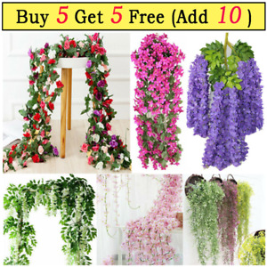 Artificial Flower Garlands Vine Rattan for Home Party Wedding Wall Stair Decor