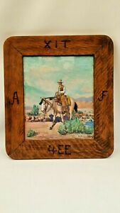 """WESTERN COWBOY OIL PAINTING XIT RANCH TEXAS D. JACKSON MOORE """"TO THE FIESTA"""""""