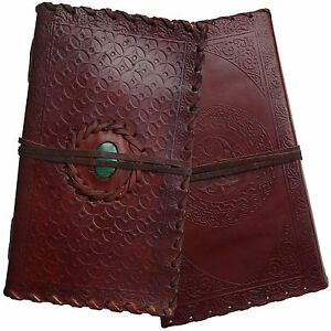 """9"""" Handmade Real Leather Embossed Diary Journal with Stone & Cartridge Paper"""