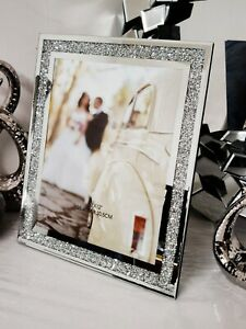 crushed diamond crystals filled silver bling photo frames glass picture frames