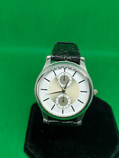 mens lbvyr chrome dress watch,with a white & gold dial,black leather strap.#bm.