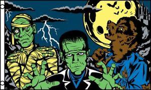 Halloween Monsters Flag 3x5 ft Frankenstein Mummy Werewolf Decoration Banner