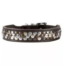 "Leather Studded Dog Collar - Hunter Brand ""Arizona"" - Adjustable - Size XS/S"