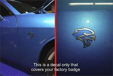 2015-16 Dodge Challenger/Charger Hellcat Side Fender Badge Vinyl Decal Overlay