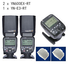 2 YONGNUO Flash Speedlite YN600EX-RT for Canon AS Canon 600EX-RT + YN-E3-RT