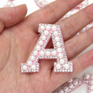 White Pearl Pink Rhinestone Sparkle Letter Patches Alphabet Embroidery Clothes