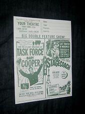 4-1950'S THEATRE HERALD ORDER SHEETS High Noon Gary Cooper STAGECOACH JOHN WAYNE
