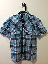 Boxfresh Short Sleeve Check Shirt/Blue Atoll - Large