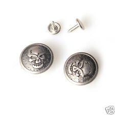 10 sets NO-SEW jeans tack Buttons  Skull metal 22 mm  Swivel Type Antique silv