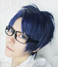 Free! Rei Ryugazaki Short Blue mix Cosplay Wig Free Tracking No. + Wig Cap