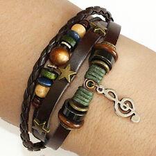 Handmade Tribal Hemp Pendant Leather Bracelet wristband Cuff Treble Clef Charm